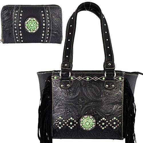 (b22-2)tooling With Fringe Collection Handbag & Wallet Set-cst5768-set (black)