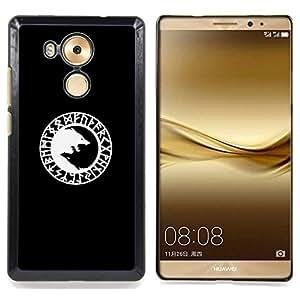 For Huawei Mate 8 - Viking Black Wolf Minimalist White /Modelo de la piel protectora de la cubierta del caso/ - Super Marley Shop -