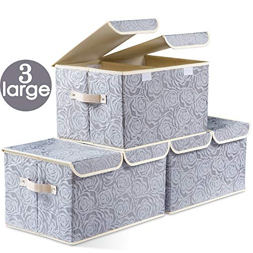 Large Foldable Storage Bins with Lids [3-Pack] Fabric Decorative Storage Box Cubes Organizer Containers Baskets with Cover Handles Removable Divider for Home Bedroom Closet Nursery (17.3x11.8x9.8