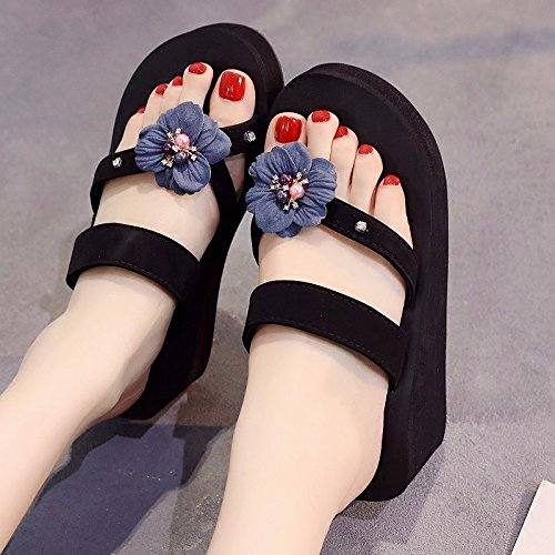 high XIAOGEGE thick flip New holiday and seaside heels shoes beach bottom skid flowers with blue flops anti resort rvnrx