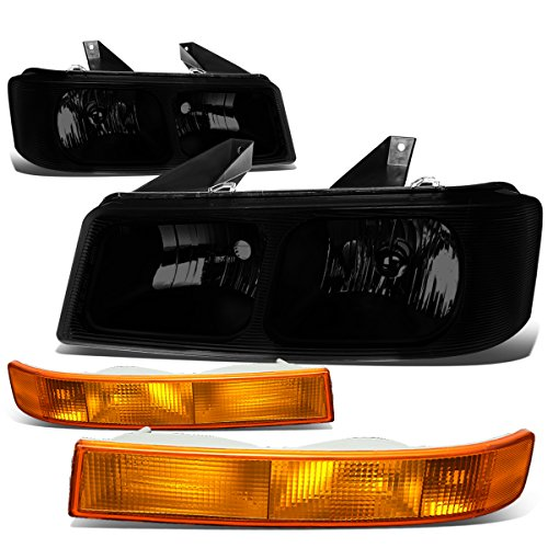 For GMC Savana/Chevy Express Headlight+Side Marker Turn Signal Bumper Lamp (Black/Amber)