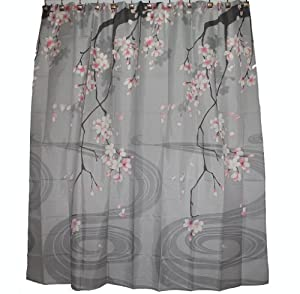 Traditional Japanese Cherry Blossom Art 100% Polyester Fabric Shower Curtain