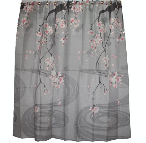 Traditional Japanese Cherry Blossom Art 100% Polyester Fabric Shower Curtain by Hawaii shower curtain