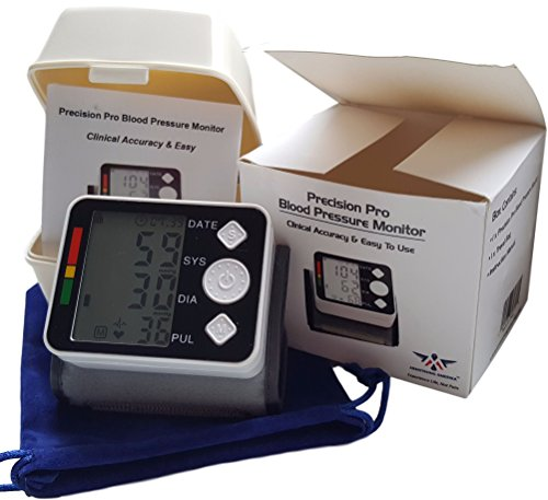 Wrist Blood Pressure Monitor Cuff - Fully Automatic Check Heartbeat and Accurate Measurement of High BP, Heart Rate Pulse Large Digital LCD Screen and Auto Memory by Armstrong Amerika