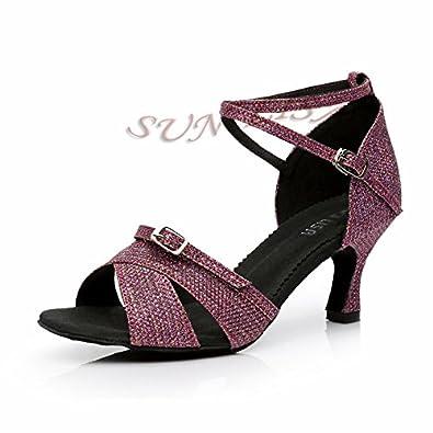 YFF Women's Lady's Girl's Schuhe mit hohen Absätzen tanzen Salsa Tango Ballroom Latin Dance Schuhe,Schwarz 63 mm Absatz,9.
