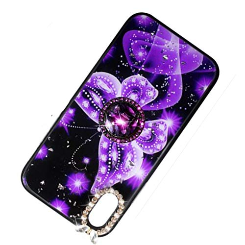 Price comparison product image iPhone Xs Bling Case for Girls Women, Aulzaju iPhone X Luxury Beauty Butterfly Soft Sparkle Shockproof Case with Rhinestone Ring Stand for iPhone X / Xs(iphone X / iphone XS 5.8 inch,  Purple)
