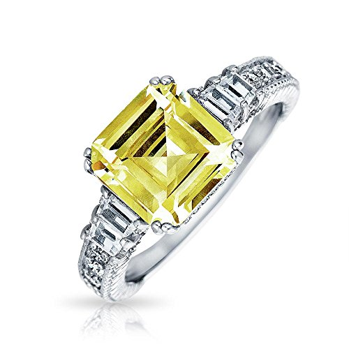 Art Deco Style 4CT Yellow Canary CZ Square Asscher Cut Engagement Ring Baguettes Band Accent 925 Sterling Silver