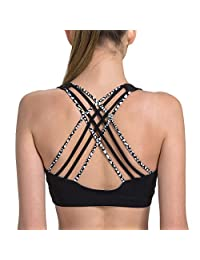 Matymats Women's Yoga Sports Bra Tops High Impact Cross Back Wirefree