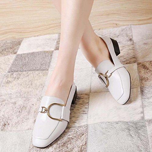 Blanco 39 Mujer Tamaño Color Verde 34 Punta Talla Cerrada Zapatos para Cerrados Tacón y Zapatos Negro Blanco Desnudos con 34 Medio HEaFwxOqT