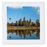 3dRose Danita Delimont - Temples - Angkor Wat temple complex Mirror image reflection, Siem Reap, Cambodia - 18x18 inch quilt square (qs_257327_7)