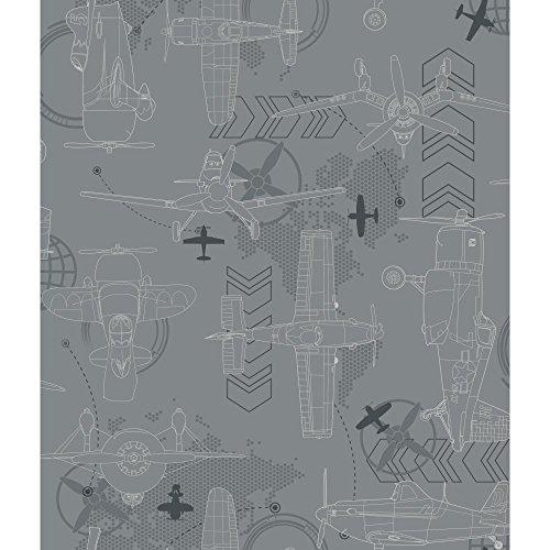 York Wallcoverings DS7740 Walt Disney Kids II Blueprint Planes Wallpaper, Light Grey/Dark Grey/Silver/White