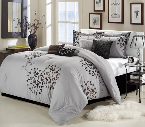 Chic Home Cheila 8-Piece Comforter Set, King, Silver