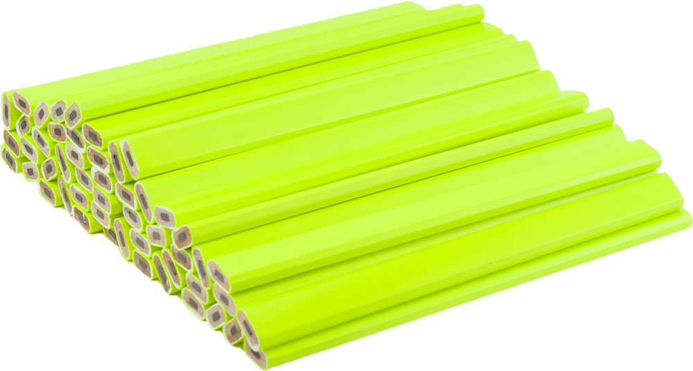 Neon Yellow Carpenter Pencils - 72 Count Bulk Box - Ten Color Choices