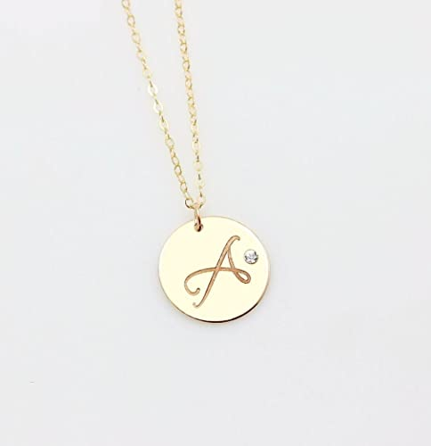 14K Gold /& Sterling Silver Crystals Letter Initial Name Charm Pendant Necklace