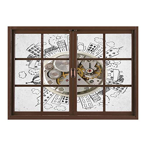 Bennington Clock (SCOCICI Window Frame Style Home Decor Art Removable Wall Sticker/Clock Decor,an Alarm Clock with Clouds and Buildings Around It Pattern Decorative Design,Light Grey/Wall Sticker Mural)