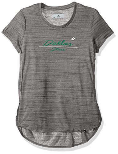 NHL Dallas Stars Women's Lux Cursive Active Tee, Large, Heather Grey