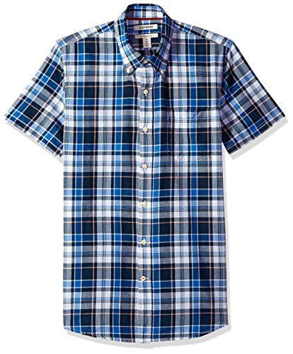 - Goodthreads Men's Slim-Fit Short-Sleeve Lightweight Madras Plaid Shirt, Navy/Blue Plaid, XX-Large