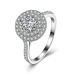 Gnzoe Jewelry S925 Sterling Silver Ring Women Round Band Cubic Zirconia Size 9