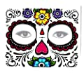 Sugar Skull Full Face Temporary Tattoo from BeWild