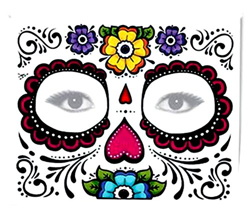 Sugar Skull Full Face Temporary Tattoo (Heart & Flowers) #119 by Fake Tattoos (Day Of The Dead Face Tattoo)