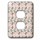 3dRose Andrea Haase Animals Illustration - Cute Patchwork Bird Pattern - Light Switch Covers - 2 plug outlet cover (lsp_274810_6)