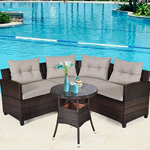 Tangkula 4-Piece Patio Furniture Set, C-Shape Outdoor Wicker Sectional Sofa Set, w/Cushions & ...