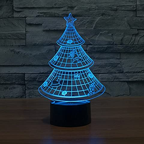 3D Illusion Lamp Gawell Night Light Christmas Trees 7 Changing Colors Touch USB Table Nice Gift Toys (Meditation Claw Bell)