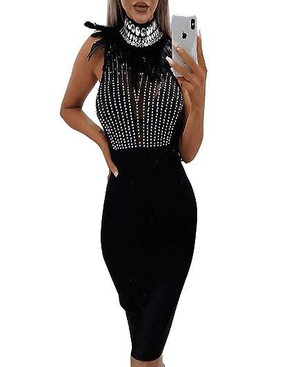 5c057e5baa Amazon.com: Sexy Sequin Bodycon Midi Dress - Womens Feather Dress ...