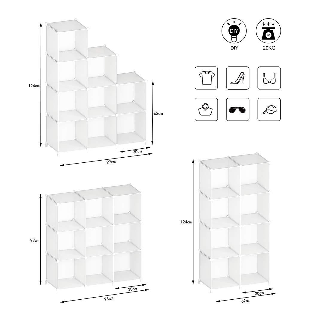 SIMPDIY Storage Cubos modulares 16 cubos Negro Organizador port/átil de pl/ástico Estanter/ía Estante Estante 124x124x30cm