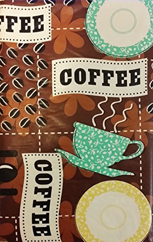 """Coffee House Cups, Saucers and Beans Vinyl Flannel Back Tablecloth (52"""" x 70"""" Oblong)"""