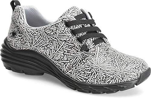 (Nurse Mates Velocity Slip-Resistant Shoe, Black/White Sparkler Size 9 Wide US)