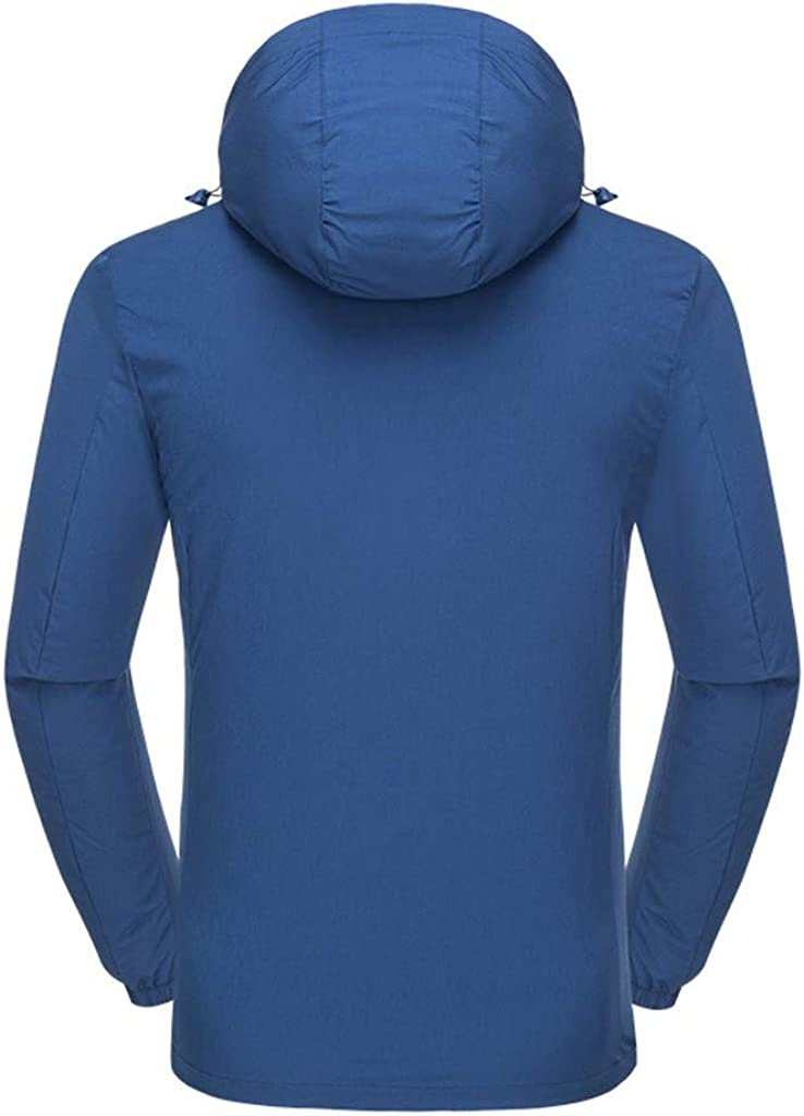 Feytuo Mantel wasserdichte und atmungsaktive schnell trocknende Herren-Outdoorjacke Jacke Mantel Winterjacke Cool Pullover Wintermantel Elegant Sale Regenjacke Günstig A- Blau
