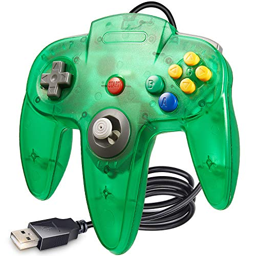 Classic N64 Game Controller Clear Green suily Wired USB