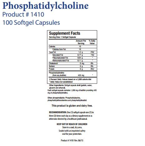 Biotics Research Phosphatidylcholine – excellent choline source, supports liver health, supplies antioxidants, promotes healthy levels of cholesterol production, support for healthy membrane and