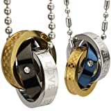 "Eternal Love Stainless Steel Interlocking Triple Rings Pendant Necklace Couples Set 18"" and 22"""