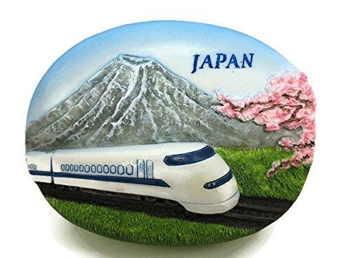 hinkansen and Mountain Fuji Souvenir Collection 3D Fridge Refrigerator Magnet Hand Made Resin ()