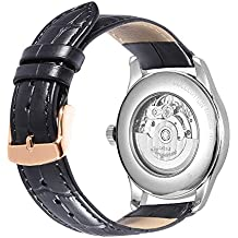 iStrap 18mm Geuine Leather Padded Stitched Watch Band with Rose Gold Tang Buckle - Black