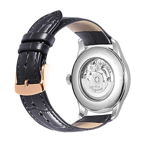 iStrap 21mm Geuine Leather Padded Stitched Watch Band with Rose Gold Tang Buckle - Black (Leather Millimeter 21 Band Watch)