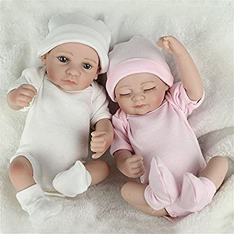 2Pcs Twins Reborn Baby Doll Silicone Handmade Lifelike Baby Play House Bath Toy (How Do I Get More Storage On M)