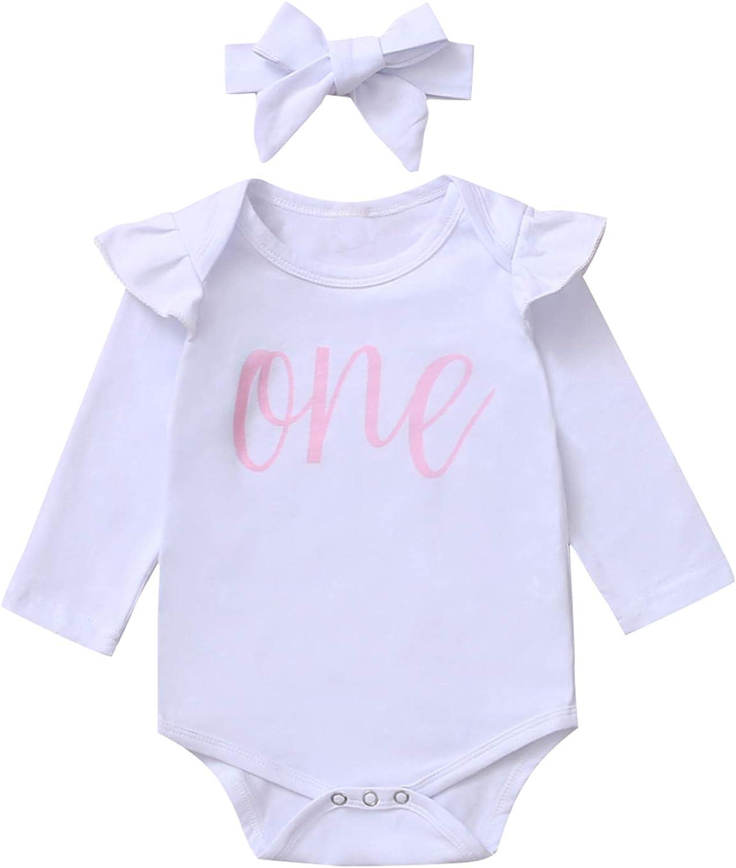 Shalofer Baby Girls First Birthday Bodysuit 1st Birthday Long Sleeve Outfit