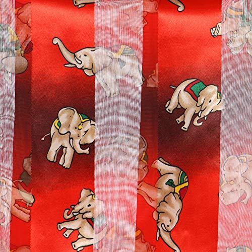 "Women Square Satin Stripe Silk Feeling Neckerchief - Head Hair Neck Scarves - 21""x21"", Tribal elephant, Red"