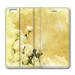 iPhone 6 Leather Case, Personalized Protective Flip Case Cover White Roses for New iPhone 6