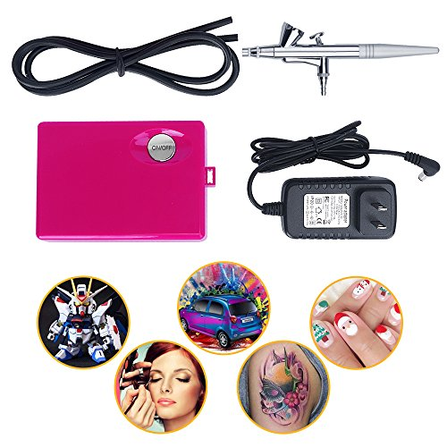 Fy-light Cosmetic Makeup Airbrush and Compressor System for Face, Nail, Temporary Tattoos, Cake Decorating(Pink) ()