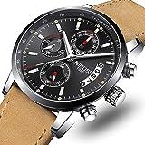 NIBOSI Mens Watches Leather Analog Quartz Watch Men Date Business Dress Wristwatch Men's Waterproof Sport Clock (Silver Black)