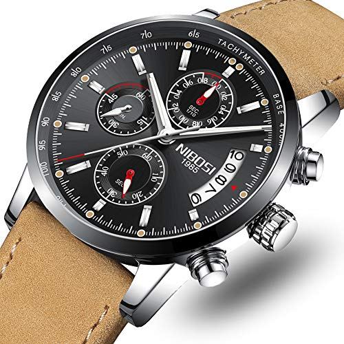 2692c0c700b NIBOSI Mens Watches Leather Analog Quartz Watch Men Date Business Dress  Wristwatch Men s Waterproof Sport Clock