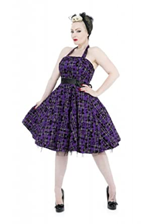 cc6240a89af96 H&R London Plaid Tartan Stars and Bows Cocktail Dress Purple Black