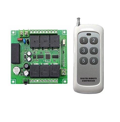 Lejin AC 6 Channel 6CH AC110V 220V 240V 180V Radio Receiver Radio Remote Control Wireless Remote Control Radio Control Garage Door Controller 10A 433MHz Light Motor Remote Control Switch by Lejin
