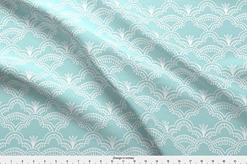 Spoonflower Lace Fabric Scallop Lace Pale Robins Egg Blue by Thistleandfox Printed on Performance Piqué Fabric by the Yard