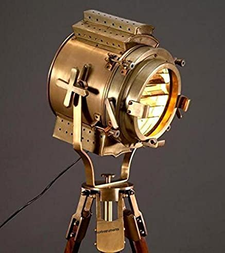 Thor Instruments.Co Classic Designer Floor Searchlight Spotlight With Heavy Tripod Stand Lamp Gold by Thor Instruments