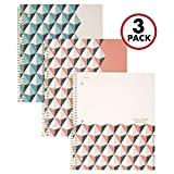"Five Star Spiral Notebooks, 1 Subject, College Ruled Paper, 100 Sheets, 11"" x 8-1/2"", Interrupt Coral, V Coral, Zigzag Coral, 3 Pack (38503)"